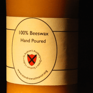 Long-burning 100% beeswax pillar candle from the St. Andrews Candle Shop
