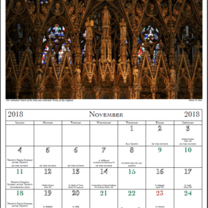Sample page from St. Andrew's Academy Ordo Calendar